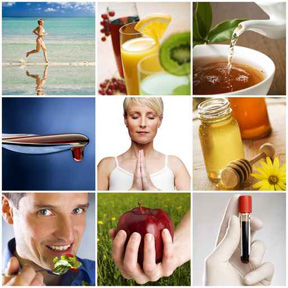 Collage of pictures of healthy foods and people exercising